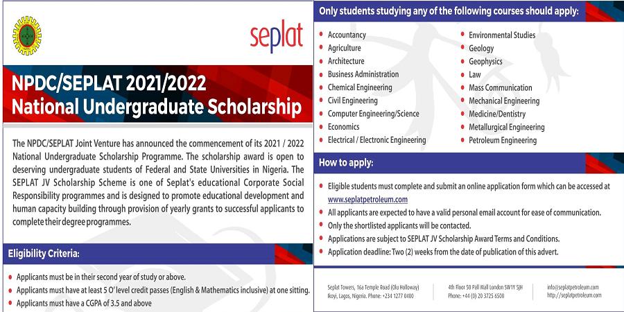 NPDC/Seplat 2021/2022 National Undergraduate Scholarship