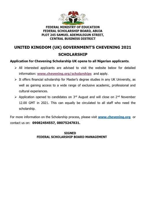 United Kingdom (Uk) Government's Chevening 2021 Scholarship